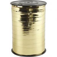 Cadeaulint, B: 10 mm, glossy, goud metallic, 250 m/ 1 rol
