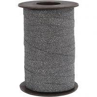 Cadeaulint, B: 10 mm, glitter, zwart, 100 m/ 1 rol