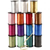 Cadeaulint, B: 10 mm, glossy, diverse kleuren, 15x250 m/ 1 doos