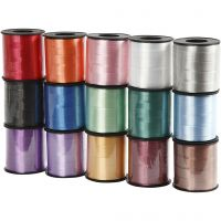 Cadeaulint, B: 10 mm, glossy, diverse kleuren, 15x50 m/ 1 doos