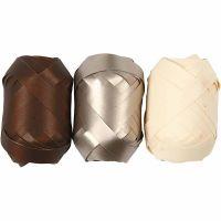 Cadeaulint, B: 10 mm, bruin, goud metallic, licht naturel, 3x10 m/ 1 doos