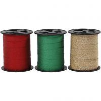 Cadeaulint, B: 10 mm, glitter, goud, groen, rood, 3x15 m/ 1 doos