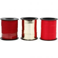 Cadeaulint, B: 10 mm, goud, rood, rood glitter, 3x15 m/ 1 doos