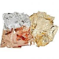 Imitatie bladmetaal, 16x16 cm, koper, goud, zilver, 3x50 vel/ 1 doos