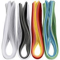 Quilling stroken, L: 78 cm, B: 5 mm, 120 gr, diverse kleuren, 12x100 stuk/ 1 doos