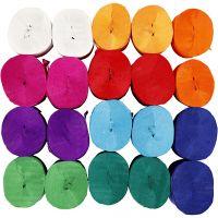 Crepepapier rollen, L: 20 m, B: 5 cm, 22 gr, diverse kleuren, 20 rol/ 1 doos