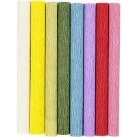 Crêpepapier, 25x60 cm, Crêpe-verhouding: 180%, 105 gr, standaardkleuren, 8 vel/ 1 doos