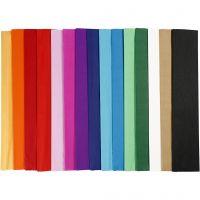 Crepepapier, L: 2,5 m, B: 50 cm, 22 gr, diverse kleuren, 60 vouw/ 1 doos