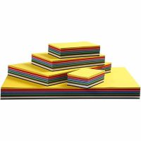 Gekleurd karton, A3,A4,A5,A6, 180 gr, diverse kleuren, 1500 div vellen/ 1 doos