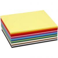 Gekleurd karton, A6, 105x148 mm, 180 gr, diverse kleuren, 300 div vellen/ 1 doos