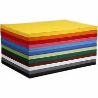 Gekleurd karton, A2, 420x594 mm, 180 gr, diverse kleuren, 12x100 vel/ 1 doos