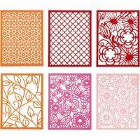 Kartonblok, A6, 104x146 mm, 200 gr, oranje, roze, rood, roze, 24 stuk/ 1 doos