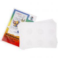 Kruissteken karton, afm 23x33 cm, 3x3 gaten per cm  , wit, 10 vel/ 1 doos