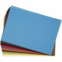 Kruissteken karton , afm 23x33 cm, 3x3 gaten per cm  , diverse kleuren, 10 div vellen/ 1 doos