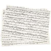 Kraft papier met print, muzieknoten, A4, 210x297 mm, 100 gr, 10 vel/ 1 doos