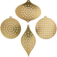 Kruissteken karton, kersdecoratie, H: 8,5-12 cm, gatgrootte 3 mm, metallic goud, 8 stuk/ 1 doos