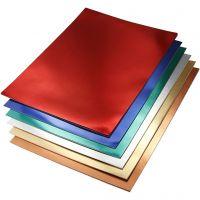 Metallic Foliekarton, A4, 210x297 mm, 280 gr, diverse kleuren, 30 div vellen/ 1 doos