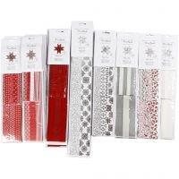 Papieren vlechtstroken, L: 45+86+100 cm, d: 6,5+11,5+18 cm, B: 15+25+40 mm, zwart, rood, zilver, wit, 18 doos/ 1 doos