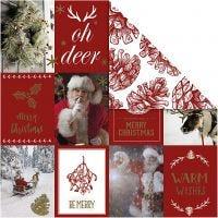 Design papier, kerstmotieven & denneappels, 180 gr, goud, rood, 3 vel/ 1 doos