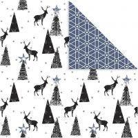 Design papier, herten & patronen, 180 gr, zwart, zilver, wit, 3 vel/ 1 doos