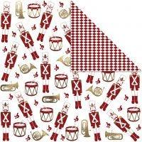 Design papier, notenkraker, 180 gr, goud, rood, wit, 3 vel/ 1 doos