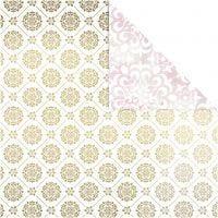 Design papier, tegels & aquarel, 30,5x30,5 cm, 180 gr, goud, wit, 3 vel/ 1 doos