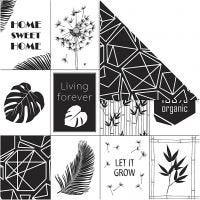 Design papier, bladeren & patroon, 180 gr, 5 vel/ 1 doos