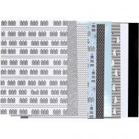 Design papierblok, afm 21x30 cm, 120+128 gr, zwart, blauw, grijs, wit, 24 vel/ 1 doos