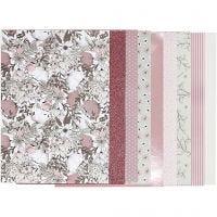 Design papierblok, afm 21x30 cm, 120+128 gr, beige, bruin, roze, wit, 24 vel/ 1 doos
