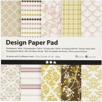 Design papierblok, 15,2x15,2 cm, 120 gr, groen, roze, 50 vel/ 1 doos