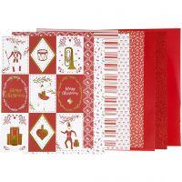 Design papierblok, afm 21x30 cm, 120+128 gr, rood, wit, 24 vel/ 1 doos