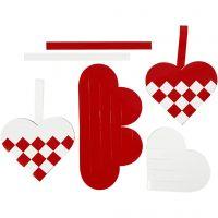 Gevlochten harten, afm 13,5x12,5 cm, rood, wit, 8 set/ 1 doos