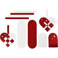 Gevlochten harten, afm 14,5x10 cm, 120+128 gr, rood, wit, 8 set/ 1 doos