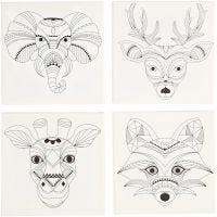 Canvas met print, dieren, afm 20x20 cm, 280 gr, wit, 4 stuk/ 1 doos