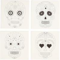 Canvas met print, schedels, afm 20x20 cm, 280 gr, wit, 4 stuk/ 1 doos