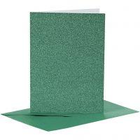 Kaarten en enveloppen, afmeting kaart 10,5x15 cm, afmeting envelop 11,5x16,5 cm, glitter, 110+250 gr, groen, 4 set/ 1 doos