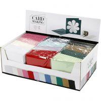 Kaarten en enveloppen, afmeting kaart 15,2x15,2 cm, afmeting envelop 16x16 cm, 230 gr, diverse kleuren, 12x10 doos/ 1 doos