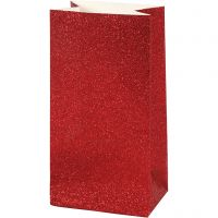 Papieren zakken, H: 17 cm, afm 6x9 cm, 200 gr, rood, 8 stuk/ 1 doos