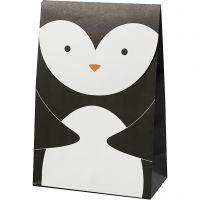 Papieren zakken, pinguïn, H: 18 cm, afm 6x12 cm, 80 gr, zwart/wit, 6 stuk/ 1 doos