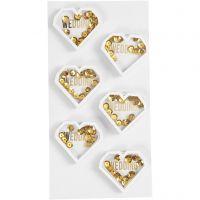 Shaker stickers, diepte 4 mm, L: 32 mm, B: 38 mm, wit, 6 stuk/ 1 doos
