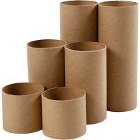 Rollen van karton, L: 4,7+9,3+14 cm, d: 5 cm, 6 stuk/ 1 doos