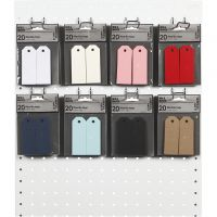 Labels, afm 3x8 cm, 220 gr, diverse kleuren, 8x10 doos/ 1 doos