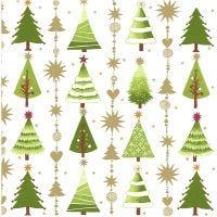 Servetten, kerstbomen, afm 33x33 cm, 20 stuk/ 1 doos