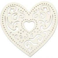 Lasergesneden hart, B: 7,5 cm, 250 gr, wit, 18 stuk/ 1 doos