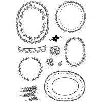 Silicone stempels, lijsten met blad, 11x15,5 cm, 1 vel