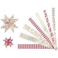 Papieren vlechtstroken, L: 44+78 cm, d: 6,5+11,5 cm, B: 15x25 mm, goud, rood, wit, 48 stroken/ 1 doos