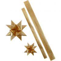 Sterstroken, L: 86+100 cm, d: 11,5+18,5 cm, B: 25+40 mm, goud glitter, 16 stroken/ 1 doos