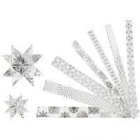 Papieren vlechtstroken, L: 44+78 cm, B: 15+25 mm, d: 6,5+11,5 cm, zilver, wit, 48 stroken/ 1 doos