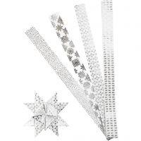 Papieren vlechtstroken, L: 100 cm, d: 18 cm, B: 40 mm, zilver, wit, 40 stroken/ 1 doos