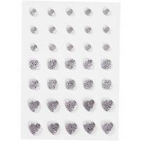 Strasstenen, rond, vierkant, hart, afm 6+8+10 mm, zilver, 35 stuk/ 1 doos